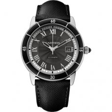 Ronde Croisiere de Cartier Watch steel gray dial black leather WSRN0003