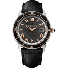 Ronde Croisiere de Cartier watch two tone steel and pink gold black leather W2RN0005