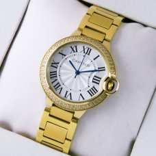 Ballon Bleu de Cartier Medium Quarz gelb goldene Uhr mit Diamanten
