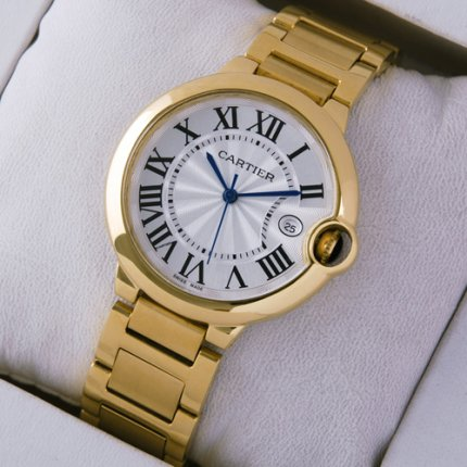 Ballon Bleu de Cartier Medium Quarz uhr Replik 18 Karat Gelbgold