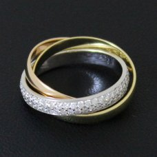 Trinity de Cartier 3-Gold gepflastert Diamant ring kleines Modell B4086000
