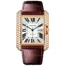 Cartier Tank Anglaise extra große Diamant uhr WT100021 Rotgold 18 K braunes Lederarmband