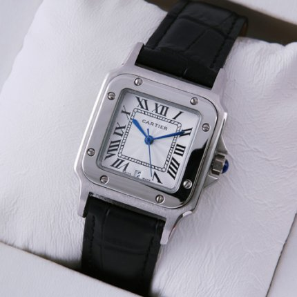 Cartier Santos 100 quartz midsize watch imitation stainless steel black leather strap