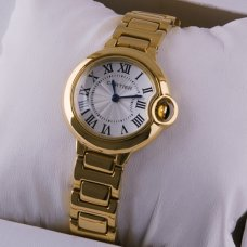 Ballon Bleu de Cartier small quartz watch replica 18kt yellow gold