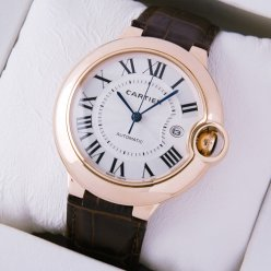 Ballon Bleu de Cartier W6900651 large watch replica 18K pink gold brown leather strap