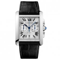 Cartier Tank MC Chronograph mens watch W5330007 steel silver dial black leather strap
