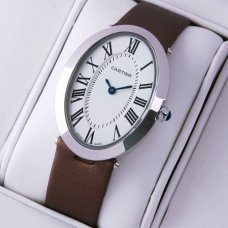 Cartier Baignoire steel womens watch replica coffee satin strap