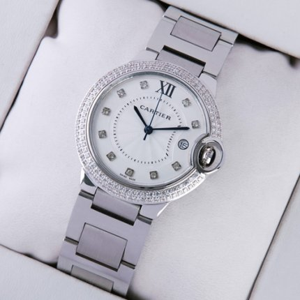 Ballon Bleu de Cartier medium steel replica watch with two rows diamonds on bezel