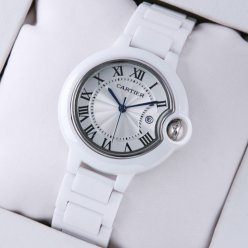 Ballon Bleu de Cartier medium white ceramic watch replica