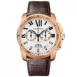 Calibre de Cartier Chronograph watch imitation W7100044 pink gold brown leather strap