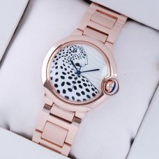 Ballon Bleu de Cartier medium swiss watch 18kt pink gold leopard-print dial