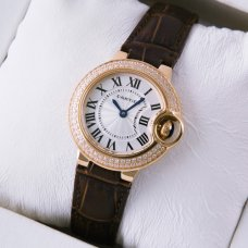 Ballon Bleu de Cartier small swiss quartz watch diamond pink gold brown leather strap