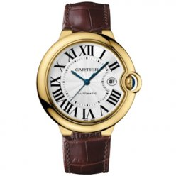 Ballon Bleu de Cartier W6900551 large watch replica 18K yellow gold brown leather strap