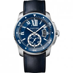 Calibre de Cartier Diver blue watch steel blue leather and rubber strap WSCA0010