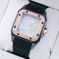 Cartier Santos 100 Limited Edition swiss watch for men tow-tone black and pink gold