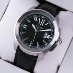 Calibre de Cartier quartz replica watch for men steel black dial and leather strap