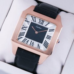 Cartier Santos Dumont large 18K pink gold watch imitation black and silver dial