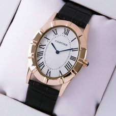 Cartier Baignoire 18K pink gold large imitation watch black leather strap
