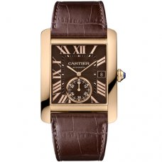 Cartier Tank MC automatic mens watch W5330002 pink gold brown dial and leather strap