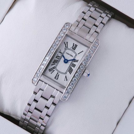 Cartier Tank Americaine diamond small steel replica watch for women
