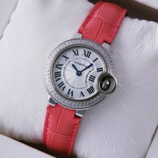 Ballon Bleu de Cartier small quartz steel diamond watch pink leather strap