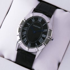 Cartier Baignoire steel large imitation watch black dial and leather strap