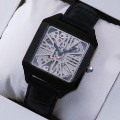 Cartier Santos Dumont Skeleton mens watch replica black PVD and leather strap