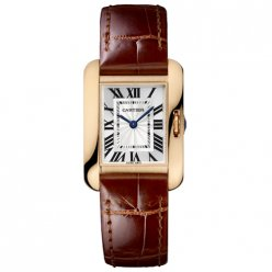 Cartier Tank Anglaise small watch for women W5310027 18K pink gold brown leather strap