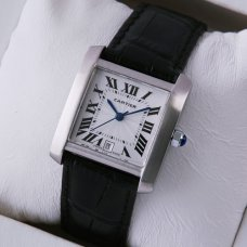 Cartier Tank Francaise mens watch replica stainless steel black leather strap