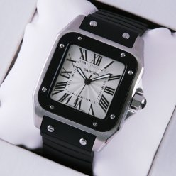 Cartier Santos 100 mens watch replica W20121U2 stainless steel black rubber strap