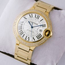 Ballon Bleu de Cartier WE9007Z3 large diamond watch replica 18K yellow gold