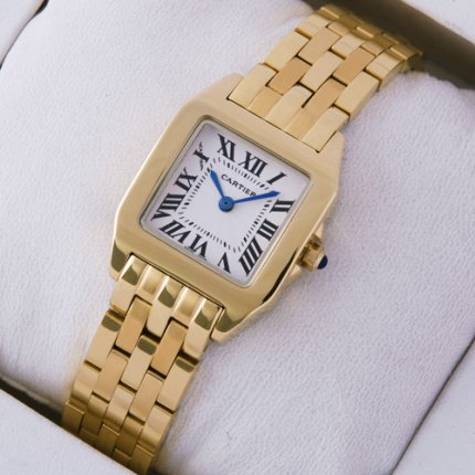 Cartier Santos Demoiselle 18K yellow gold replica watch for women