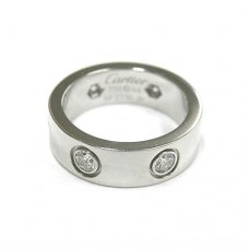 Cartier Love replica white gold ring B4026000 with six diamonds