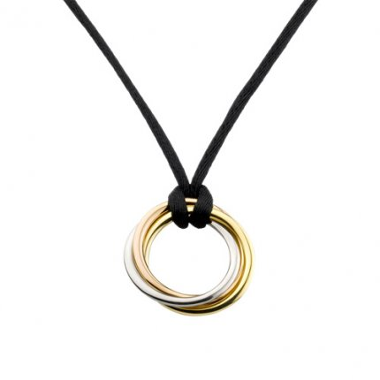 Trinity de Cartier 3-gold pendant imitation B3041200 black cotton cord