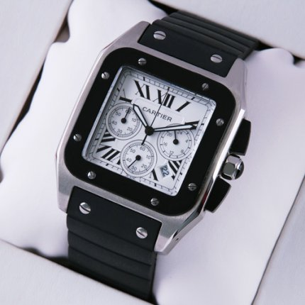 Cartier Santos 100 Chronograph mens watch replica stainless steel black rubber strap