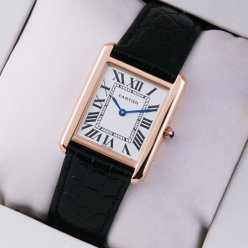 Cartier Tank Solo large swiss mens watch replica 18K pink gold black leather strap