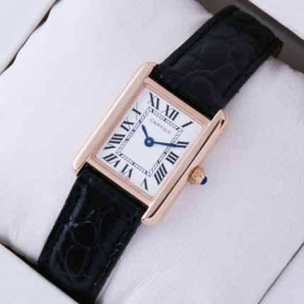 Cartier Tank Solo small swiss watch replica 18K pink gold black leather strap