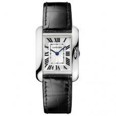 Cartier Tank Anglaise small watch for women W5310029 18K white gold black leather strap