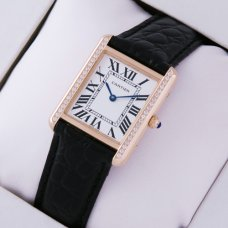 Cartier Tank Solo small swiss diamond watch for women 18K pink gold black leather strap