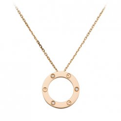 Cartier Love pink gold necklace B7014700 pendant with three diamonds