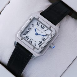 Cartier Santos 100 quartz womens watch replica stainless steel black leather strap