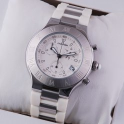 Cartier Must 21 Chronograph steel white rubber band replica watch for men