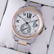 Calibre de Cartier automatic mens watch replica W7100036 two-tone pink gold and steel