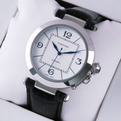 Cartier Pasha C imitation mens watch stainless steel black leather strap