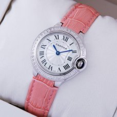 Ballon Bleu de Cartier small swiss quartz watch diamond white gold pink leather strap