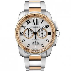 Calibre de Cartier Chronograph imitation watch W7100042 two-tone pink gold and steel