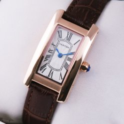 Cartier Tank Americaine small womens watch W2607456 18K pink gold brown leather strap