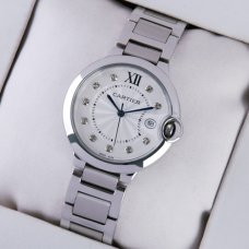Ballon Bleu de Cartier medium steel watch with diamonds on dial