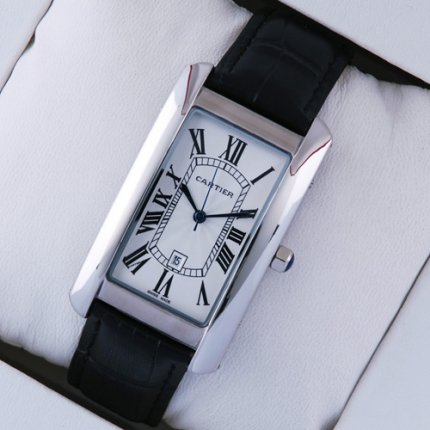 Cartier Tank Americaine mens replica watch W2603256 steel black leather strap