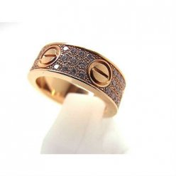 Cartier Love pink gold ring imitation B4087600 with paved diamonds